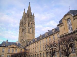 Caen - Abbaye-aux-Hommes abbey: convent buildings and towers of the Saint-Etienne church