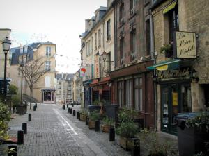 Caen - Vaugueux street with its houses, restaurants, shrubs and lampposts
