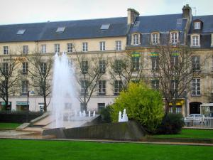 Caen - Fountains, lawns, trees and buildings of the République square