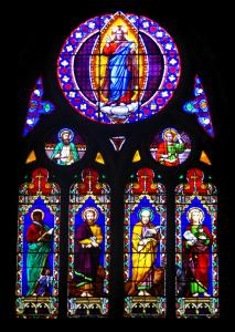 Cahors - Stained glass windows of the Saint-Barthélemy church, in the Quercy