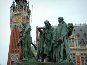 Calais - Calais Bourgeois monument (bronze sculpture from Rodin), town hall and belfry in background