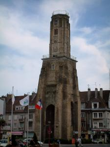 Calais - Watchtower,  the Armes square, flags and houses