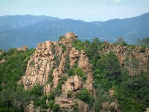 Calanche de Piana creeks - Red granite rock masses (creeks) with trees, mountains in background