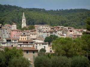 Callas - Church bell tower and houses of the village, trees and forest
