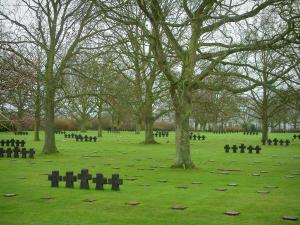 La Cambe German cemetery - Tombs of the German military cemetery and the trees