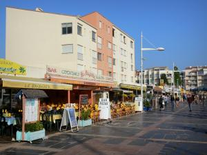 Le Cap-d'Agde - Buildings, cafe terraces and shops of the seaside resort
