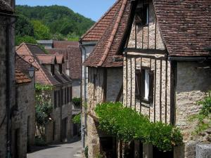 Carennac - Narrow street and stone houses of the village, in the Quercy