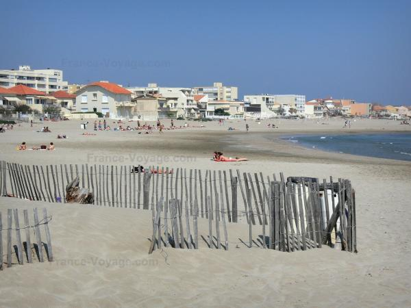Carnon-Plage - Sandy beach, houses and buildings of the seaside resort, Mediterranean Sea