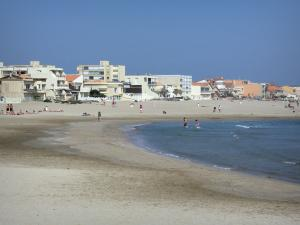 Carnon-Plage - Sandy beach, Mediterranean Sea, houses and buildings of the seaside resort
