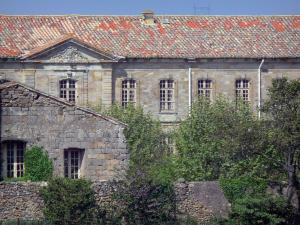 Cassan abbay-castle - Abbaye-castle (former royal priory) and trees, in Roujan