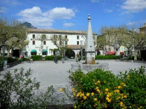 Castellane - Marcel Sauvaire square: fountain, flowers, shrubs, trees and houses; clouds in the blue sky