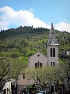 Castellane - Saint-Victor church, trees and houses of the old town