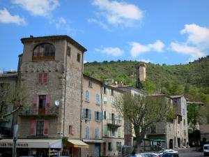 Castellane - Houses lining the Église square and pentagonal tower overlooking the group of buildings