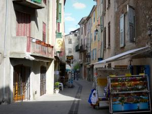 Castellane - Houses and shops of the Mitan street