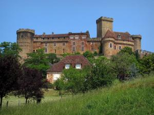 Castelnau-Bretenoux castle - Fortified castle, house, trees and prairie, in the Quercy