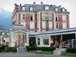 Cauterets - Spa town and health resort: gallery of the Esplanade des Oeufs square, library and building of the town