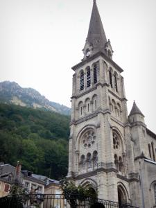Cauterets - Spa town and health resort: bell tower of church Notre-Dame de Cauterets