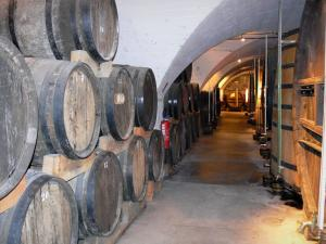 Caves de la Chartreuse cellar - Cellar of the Carthusian monks Liqueur (in the town of Voiron): line of barrels