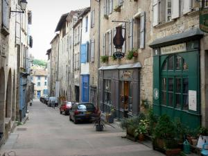 Caylus - Facades of houses in the Rue Droite street
