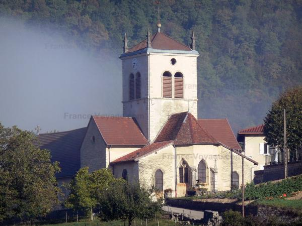 Cerdon - Saint-Jean-Baptiste church surrounded by trees; in Upper Bugey