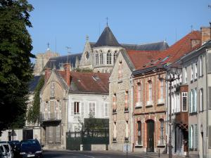 Châlons-en-Champagne - Houses of the old town and the Saint-Etienne cathedral of Gothic style