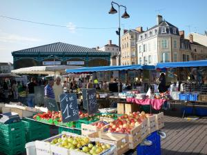 Châlons-en-Champagne - Market (fruits stand in foreground), covered market hall, lamppost and buildings of the city