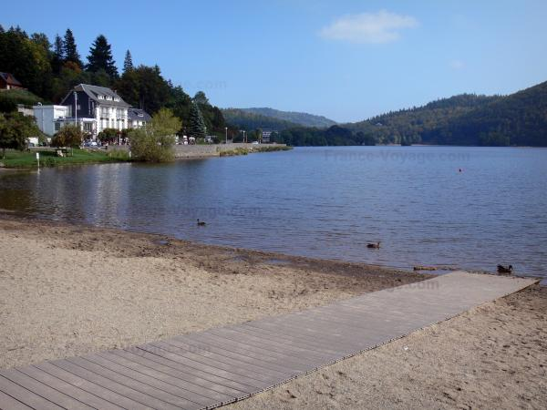 Chambon lake - Beach, lake, ducks, houses and wooded banks; in the Auvergne Volcanic Regional Nature Park, in the Monts Dore mountain area
