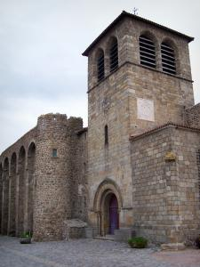 Champdieu church - Hall of the bell tower, Romanesque portal and fortifications of the fortified Romanesque church