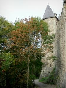 Chantelle abbey - Saint-Vincent Benedictine abbey: road lined with trees down the ramparts