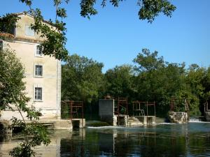 Charente valley - Watermill, Charente river and trees; in Saint-Simeux