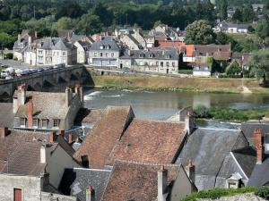 La Charité-sur-Loire - View over the rooftops of the old town and the bridge spanning River Loire