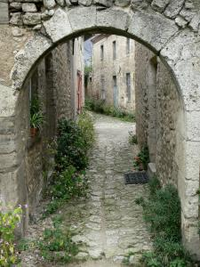 Charroux - Archway and paved street lined with flowers and stone houses