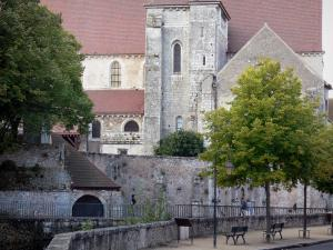 Chartres - Saint-André church home to an exhibition centre, bridge spanning the River Eure, trees, lamppost and benches