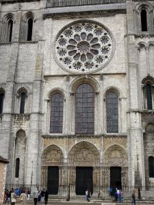 Chartres - Facade of the Notre-Dame cathedral (western facade of the Gothic building): Royal portal and rose window