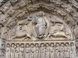 Chartres - Notre-Dame cathedral: tympanums (statuary, sculptures) of the central door of the Royal portal (western facade of the Gothic building)