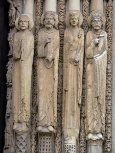 Chartres - Notre-Dame cathedral: sculptures (statuary) of the central door of the Royal portal (western facade of the Gothic building)