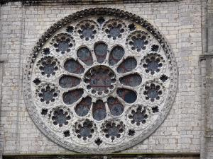Chartres - Notre-Dame cathedral (Gothic building): rose window of the western facade