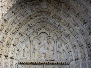 Chartres - Notre-Dame cathedral (Gothic building): tympanums (statuary, sculptures) of the central door of the Northern portal