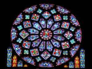 Chartres - Inside of the Notre-Dame cathedral (Gothic building): stained glass windows of the Northern rose window (France rose window)