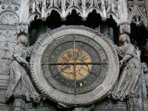 Chartres - Inside of the Notre-Dame cathedral (Gothic building): astronomical clock of the fence of the chancel (tower)