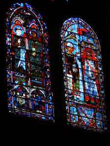 Chartres - Inside of the Notre-Dame cathedral (Gothic building): stained glass windows
