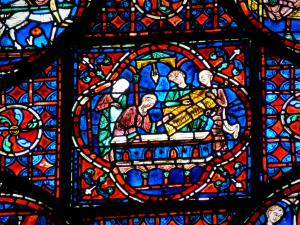 Chartres - Inside of the Notre-Dame cathedral (Gothic building): stained glass window