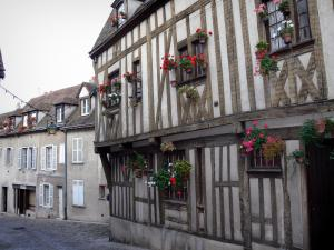 Chartres - Timber-framed house and flower-bedecked windows in the old town