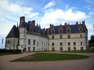 Château d'Amboise - Royal castle (lodging houses) and clouds in the blue sky