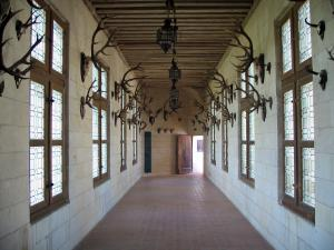 Château de Chambord - Inside of the Château: corridor decorated with hunting trophies