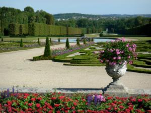 Château de Champs-sur-Marne - Park of the château: French garden with its embroidery-like flowerbeds, its paths, its ponds and its trees
