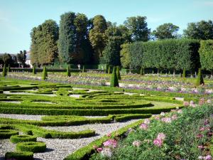 Château de Champs-sur-Marne - French-style formal garden: embroidery-like flowerbeds and trees