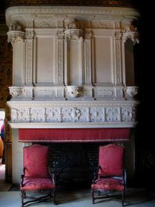 Château de Chenonceau - Inside of the castle: bedroom of François I(fireplace)