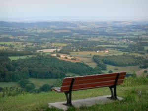 Château-Chinon - Calvaire panoramic view: bench overlooking the Morvan and the Bazois