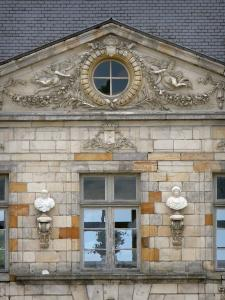 Château de Courson - Detail of the facade of the château; in the town of Courson-Monteloup